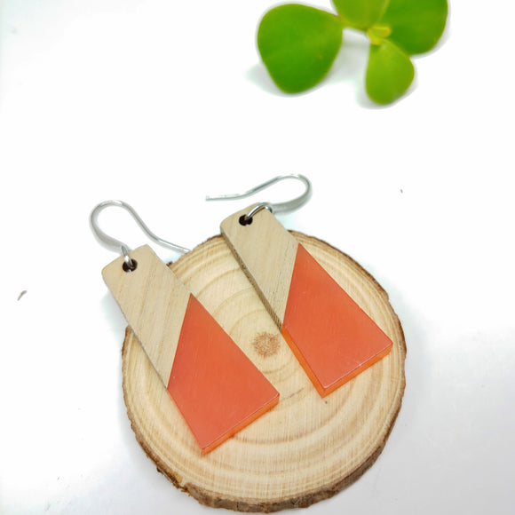 Wood and Peachy Resin Colourful Trapezoid Earrings - Ameli Jewellery Studio