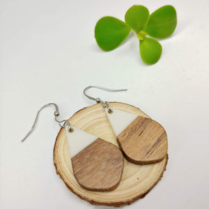 Wood and White/Ivory Resin Colourful Teardrop Earrings - Ameli Jewellery Studio