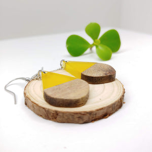 Wood and Transparent Yellow Resin Colourful Teardrop Earrings - Ameli Jewellery Studio