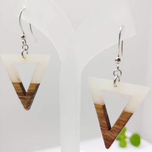 Wood and Opaque White / Smoke Resin Reverse Triangle Earrings - Ameli Jewellery Studio