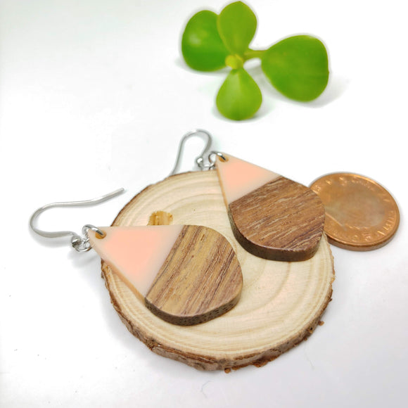 Wood and Pretty in Pink Resin Colourful Teardrop Earrings - Ameli Jewellery Studio