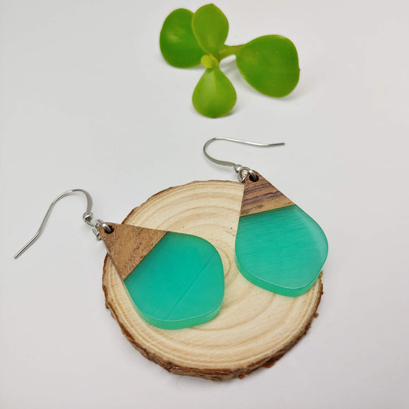 Wood and Turquoise Resin Colourful Teardrop Earrings - Ameli Jewellery Studio