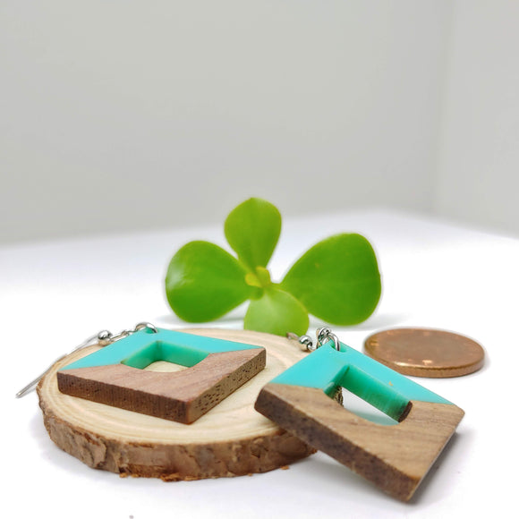 Wood and Turquoise Resin Rhombus Dangle Earrings - Ameli Jewellery Studio