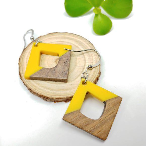 Wood and Yellow Resin Rhombus Dangle Earrings - Ameli Jewellery Studio