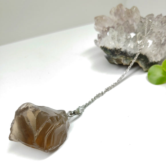 Smoky Quartz Raw Crystal Long Necklace - Ameli Jewellery Studio