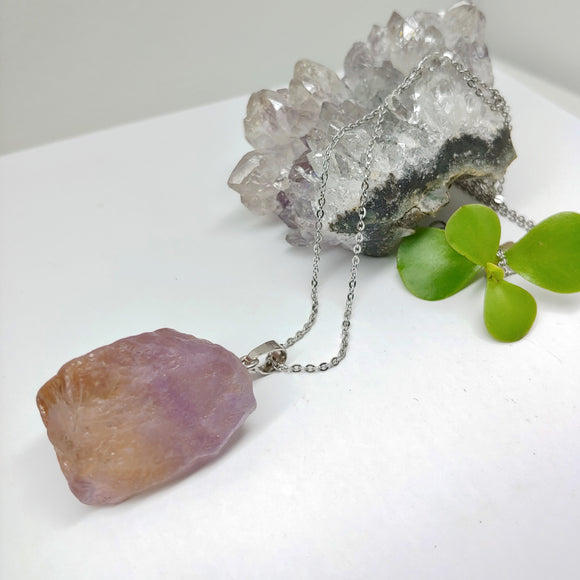 Raw Amethyst Crystal Long Necklace - Ameli Jewellery Studio