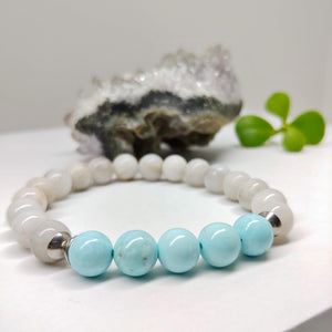 Crazy White Agate and Turquoise  Gemstone Affirmation Bracelet (6 inches & 7 Inches)