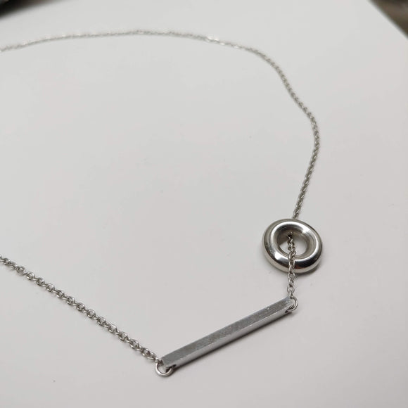 Ringette Style (ring and 1 inch bar) Stainless Steel 18 or 16 inch Necklace - Ameli Jewellery Studio