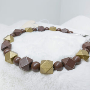 Brown and Gold Walking Dog Collar (18 inches) in All Natural Wood Beads -Doggie Stylz - Ameli Jewellery Studio