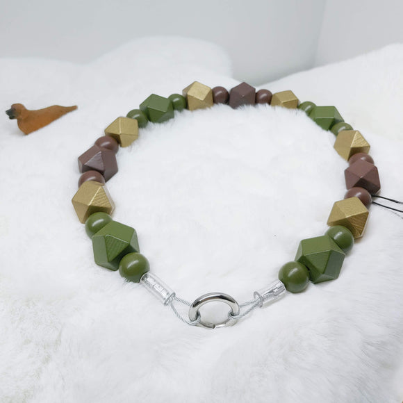 Camo and Gold Walking Dog Collar (18.5 inches) in All Natural Wood Beads -Doggie Stylz - Ameli Jewellery Studio