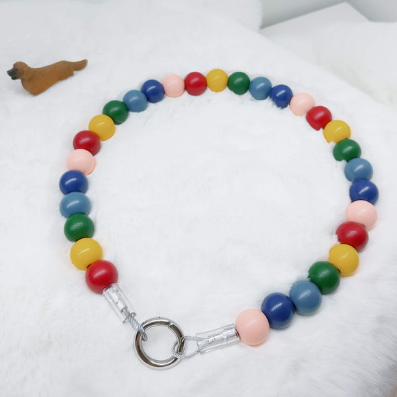 Rainbow Wooden Walking Dog Collar (18.5 inches) in All Natural Wood Beads -Doggie Stylz - Ameli Jewellery Studio
