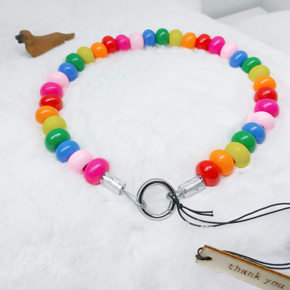 Bright Rainbow Wooden Walking Dog Collar (16.5 inches) in All Natural Wood Beads -Doggie Stylz - Ameli Jewellery Studio
