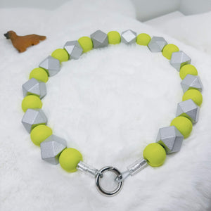 Bright Green and Silver Walking Dog Collar (19 inches) in All Natural Wood Beads -Doggie Stylz - Ameli Jewellery Studio