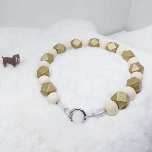 Gold and Natural Wooden Walking Dog Collar (17 inches) in All Natural Wood Beads -Doggie Stylz - Ameli Jewellery Studio