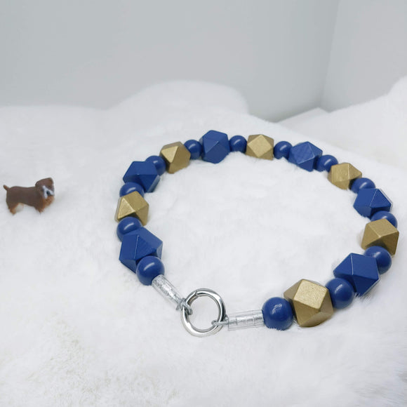 Navy and Gold Walking Dog Collar (16.5 inches) in All Natural Wood Beads -Doggie Stylz - Ameli Jewellery Studio