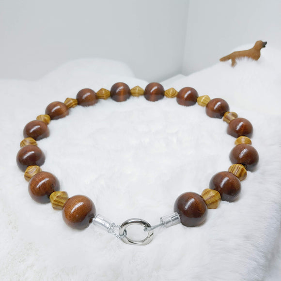 Natural Burly Wood and Coffee Walking Dog Collar (21 inches) in All Natural Wood Beads -Doggie Stylz - Ameli Jewellery Studio