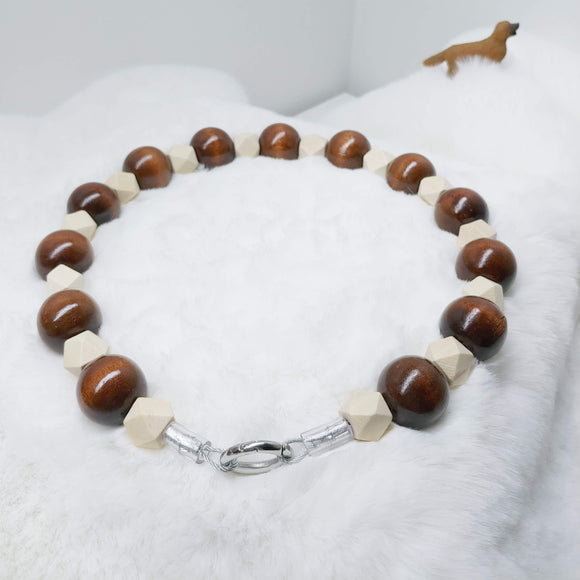 Natural Wood and Coffee Walking Dog Collar (20 inches) in All Natural Wood Beads -Doggie Stylz - Ameli Jewellery Studio