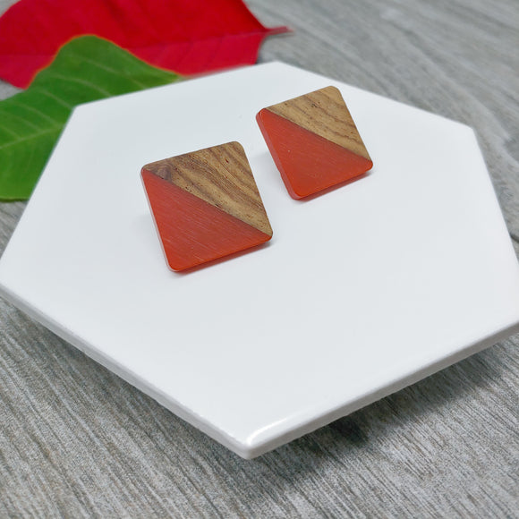 Wood and Red Resin Colourful Studs - Square 20 mm x 20 mm - Ameli Jewellery Studio