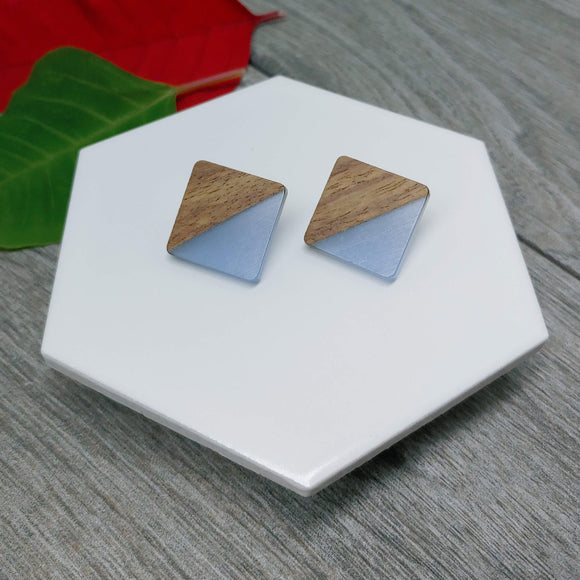 Wood and Smoke Blue Resin Colourful Studs - Square 20 mm x 20 mm - Ameli Jewellery Studio
