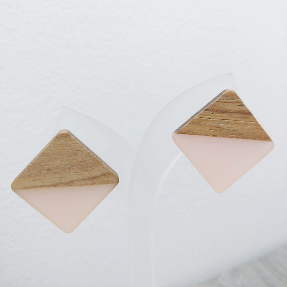 Wood and Pale Pink Resin Colourful Studs - Square 20 mm x 20 mm - Ameli Jewellery Studio