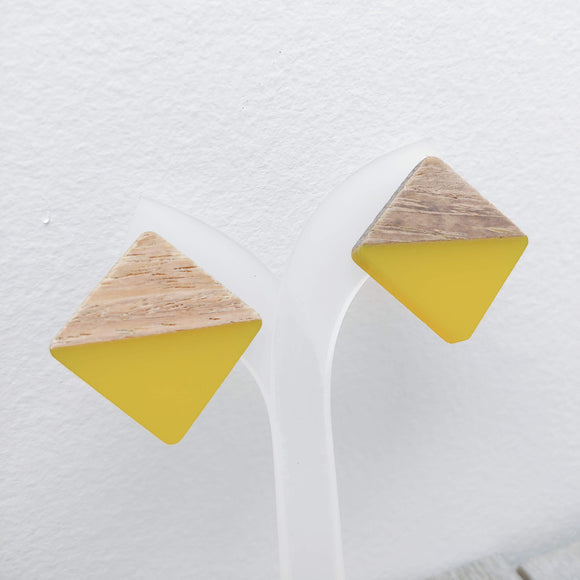 Wood and Yellow Resin Colourful Studs - Square 20 mm x 20 mm - Ameli Jewellery Studio