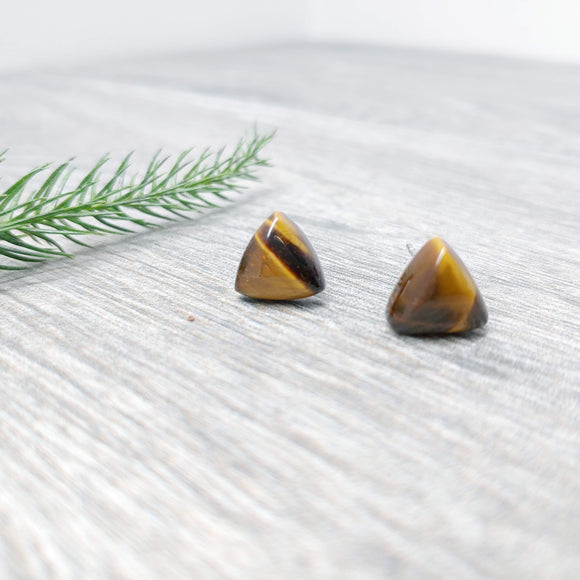 Gemstone Geometric Triangle Earring Studs - Multiple Crystals available (stainless steel or plastic post)