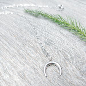 Dainty Crescent Moon pendant on 16 inch Stainless Steel Necklace - Ameli Jewellery Studio