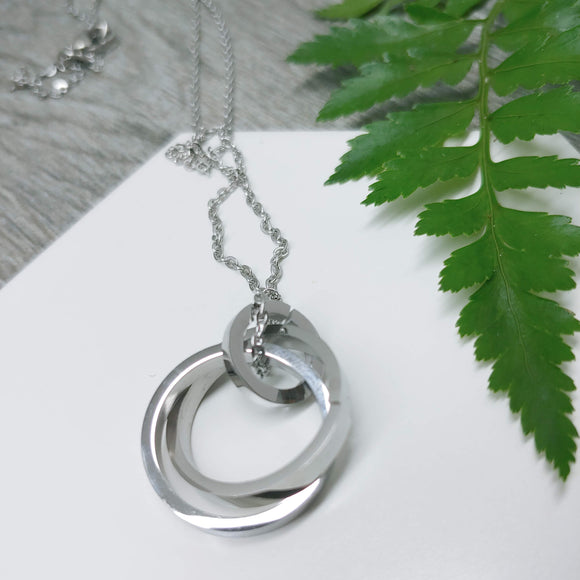 Interlocking Rings Stainless Steel Pendant Necklace in Silver Only - Ameli Jewellery Studio