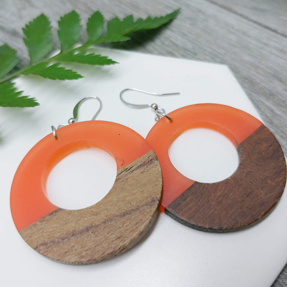 Wood and Tangerine Resin Colourful Hoop Earrings - Ameli Jewellery Studio