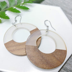 Wood and Clear Resin Colourful Hoop Earrings - Ameli Jewellery Studio