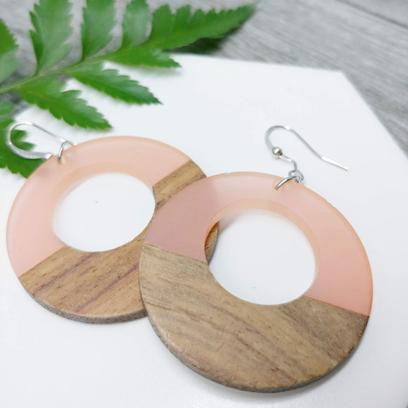 Wood and Pale Pink Resin Colourful Hoop Earrings - Ameli Jewellery Studio