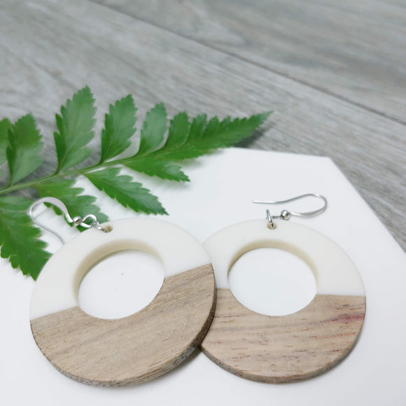 Wood and White Resin Funky Hoop Earrings - Ameli Jewellery Studio