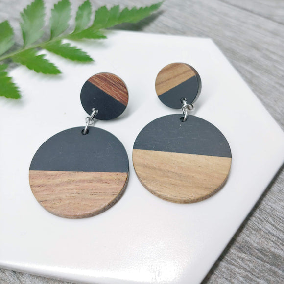 Wood and Black Resin Circle Dangle Earrings