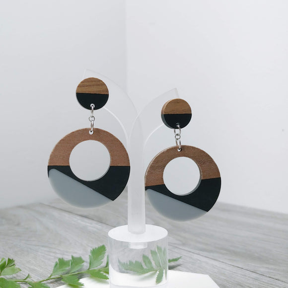 Wood and Black Grey Resin Hoop Dangle Earrings - Ameli Jewellery Studio