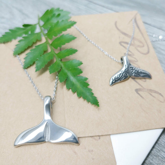 Smooth Whale Tail Stainless Steel Pendant Necklace - Ameli Jewellery Studio