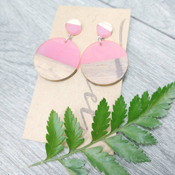 Wood and Pink Resin Circle Dangle Earrings - Ameli Jewellery Studio