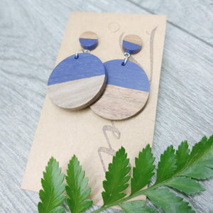 Wood and Navy Blue Resin Circle Dangle Earrings - Ameli Jewellery Studio