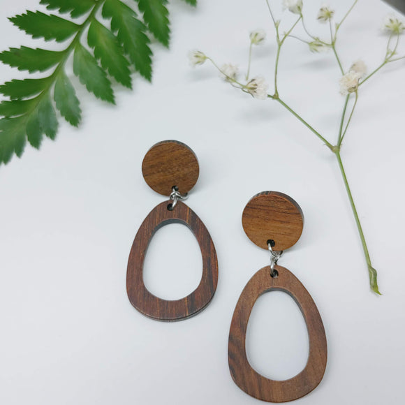 Wood Oval Hoop Dangle Earrings - Ameli Jewellery Studio