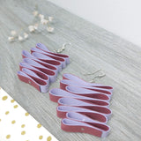 Quilled Paper Dangle Earrings (Maroon and Lilac Squiggle) - Ameli Jewellery Studio