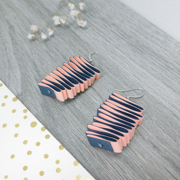 Quilled Paper Dangle Earrings (Pink and Navy Squiggle) - Ameli Jewellery Studio
