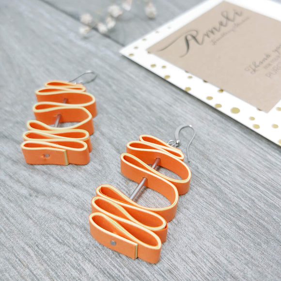 Quilled Paper Dangle Earrings (Tangerine and Yellow Squiggle) - Ameli Jewellery Studio