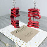 Quilled Paper Dangle Earrings (Maroon and Red Squiggle) - Ameli Jewellery Studio