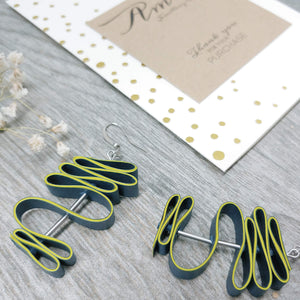 Quilled Paper Dangle Earrings (Navy and Lime Squiggle) - Ameli Jewellery Studio