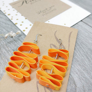 Quilled Paper Dangle Earrings (Bright Orange and Tangerine Squiggle) - Ameli Jewellery Studio