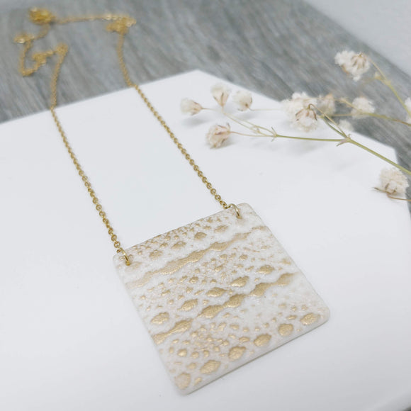 Square Porcelain Polar Ice Necklace with Gold Gilt- Stainless Steel Golden Fine Chain Necklace - Ameli Jewellery Studio
