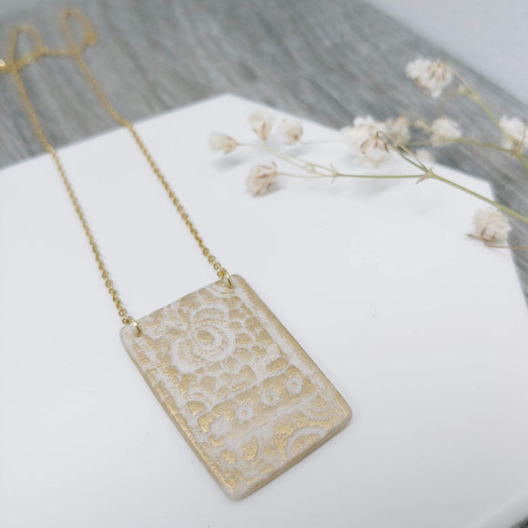Rectangle Porcelain Polar Ice Necklace with Gold Gilt- Stainless Steel Golden Fine Chain Necklace - Ameli Jewellery Studio