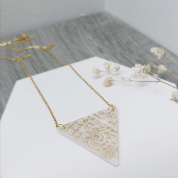 Triangle Porcelain Polar Ice Necklace with Gold Gilt- Stainless Steel Golden Fine Chain Necklace - Ameli Jewellery Studio