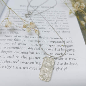 Silver Necklace Pressed Token Rectangle Fine Silver (.999) Necklace with Sterling Silver Chain
