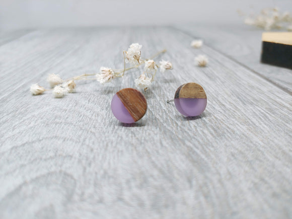 Wood and Lilac Resin Colourful Studs - Round