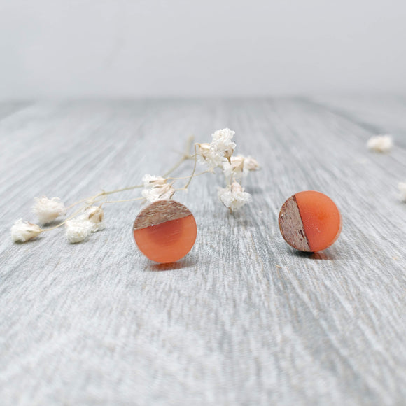 Wood and Tangerine Resin Colourful Stud Earrings - Round